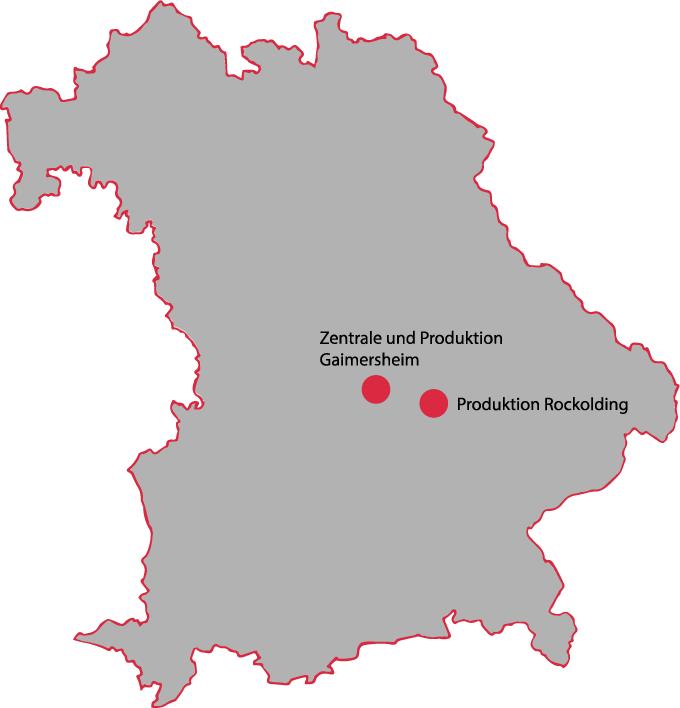 Umrisskarte Bayern mit Kennzeichnung Unternehmensstandorte Brenner Blechverarbeitung in Gaimersheim und Rockolding